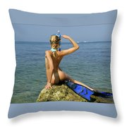 Diver On Guard. Throw Pillow