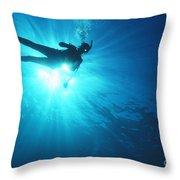 Diver On Mahi Wreck Throw Pillow by Bob Abraham - Printscapes