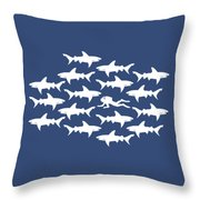 Diver Swimming With Sharks Throw Pillow