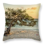 Divi Tree Sunset Throw Pillow