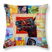 Divided Land - Crying Horse Throw Pillow