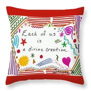 Divine Creation Doodle Quote Throw Pillow