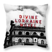 Divine Lorraine Hotel Marquee Throw Pillow by Bill Cannon
