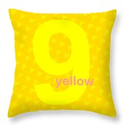 Divine Yellow Number Nine Throw Pillow