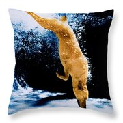Diving Dog Underwater Throw Pillow