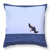 Diving For Dinner Throw Pillow by Annette Allman