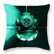 Diving Helmet Throw Pillow