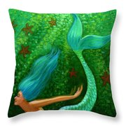 Diving Mermaid Fantasy Art Throw Pillow