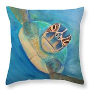 Diving Sea Turtle Throw Pillow