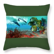 Diving Whales Throw Pillow