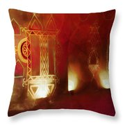Diwali Card Lamps And Murals Blue City India Rajasthan 2g Throw Pillow