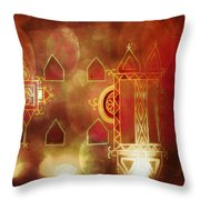 Diwali Card Lamps And Murals Blue City India Rajasthan 2h Throw Pillow