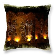 Diwali Lamps And Murals Blue City India Rajasthan 2b Throw Pillow