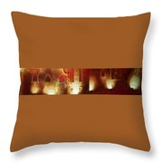 Diwali Lamps And Murals Blue City India Rajasthan Wide 2c Throw Pillow