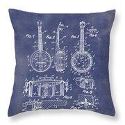 Dixie Banjolele Patent 1954 In Grunge Blue Throw Pillow