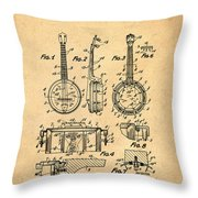 Dixie Banjolele Patent 1954 In Sepia Throw Pillow