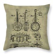 Dixie Banjolele Patent 1954 In Weathered Throw Pillow