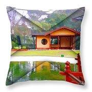 Djg-0004 Pavilion View Of Teahouse Throw Pillow