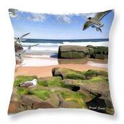 Do-00046 Birdie Beach Throw Pillow