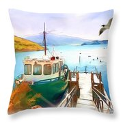 Do-00095 Boat Near Rotorua Throw Pillow