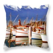 Do-00096 Boats In Nelson Bay Early 90s Throw Pillow
