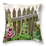 Do-00099 Fence-flowers Throw Pillow