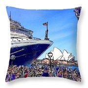 Do-00100 A Ship And Opera House Throw Pillow