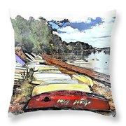 Do-00124 Tender Boats Throw Pillow