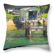 Do-00128 Boatshed At Brisbane Water Throw Pillow