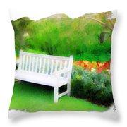 Do-00138 White Bench Throw Pillow
