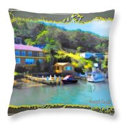 Do-00243 Houses On Brisbane Water Throw Pillow