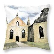 Do-00244 Abandoned Church Throw Pillow