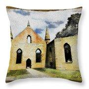 Do-00247 Church At Port Arthur Throw Pillow