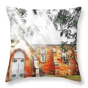 Do-00264 Ghostly Look Of St John Church Throw Pillow