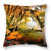 Do-00268 Trees On Water In Avoca Estuary Throw Pillow