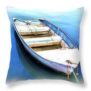 Do-00269 Boat In Killcare Throw Pillow