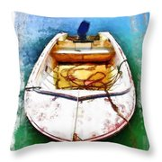 Do-00277 Boat In Hardys Bay Throw Pillow