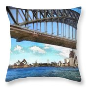 Do-00284 Sydney Harbour Bridge And Opera House Throw Pillow
