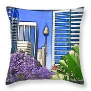 Do-00285 Sydney Centre Tower In Spring Throw Pillow