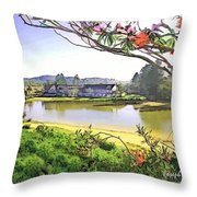 Do-00289 The Clan Lakeside Lake Lodge Throw Pillow