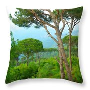 Do-00301 Pine Trees Forest In Aaraya Throw Pillow