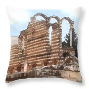 Do-00302 Ruins In Anjar Throw Pillow