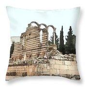 Do-00306 Old Ruins In Anjar Throw Pillow