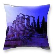 Do-00307 Moon On Anjar Ruins Throw Pillow