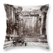 Do-00316 Inside The Temple Of  Bacchus - Baalbeck Throw Pillow