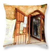 Do-00345 Display Door In The Souk Of Byblos Throw Pillow