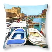 Do-00347 Boats In Byblos Port Throw Pillow