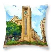 Do-00358 The Clock Tower Throw Pillow