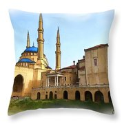 Do-00362al Amin Mosque And St George Maronite Cathedral Throw Pillow