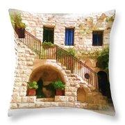 Do-00374 Old Building In Deir El-kamar Throw Pillow